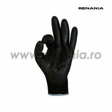Manusi tricotate din poliester cu aplicatii din poliuretan pe degete si in palma SENSOR BLACK P, art.C200 (1464PN)