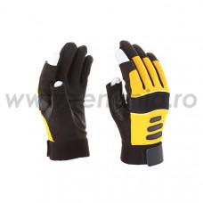 Manusi din piele artificiala+textil cu 2 degete decupate la varf MK, art.C802 (MK-SDP-3)