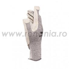 Manusi ticotate din fibre speciale cu dublura din piele in palma si degete, art.C767 (KROMET-832)