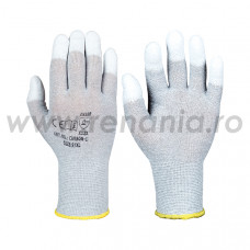 Manusi tricotate cu fir antistatic impregnate cu PU pe varful degetelor Carbon-1, art.C701 (CARBON-1)