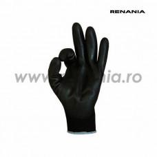 Manusi tricotate din poliester cu aplicatii din poliuretan pe degete si in palma SENSOR BLACK P, RENANIA, art.C200 (1464PN)