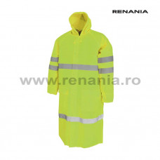 TOBAGO védőréteggel bevont poliészter esőköpeny, fényvisszaverő csíkkal (sárga) art.5B30 (9185)